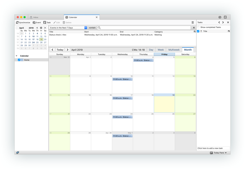 Lightning Calendar screenshot